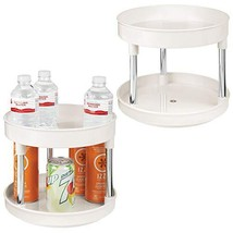 mDesign 2 Tier Lazy Susan Turntable Food Storage Container for Cabinets,... - £22.57 GBP