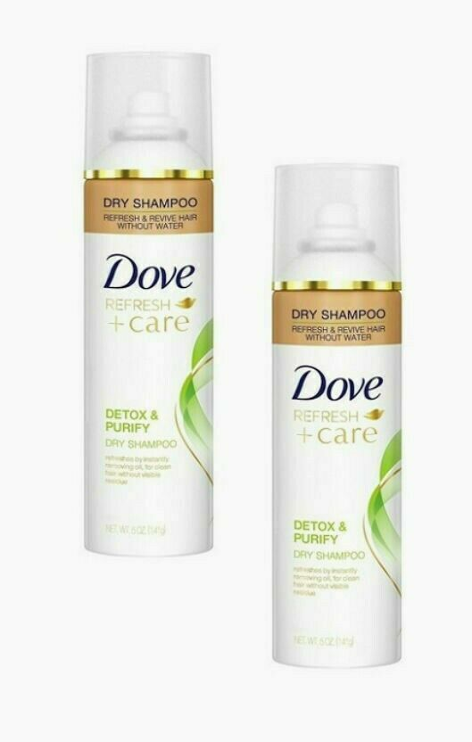 Primary image for 2 X Dove Refresh + Care Dry Shampoo Detox & Purify Revive Without Water 5 Oz Ea
