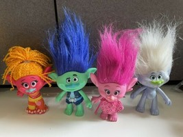 Troll Doll Blue White Hair 2015 Hasbro Poppy Branch Guy DJ lot w cloths - $39.55