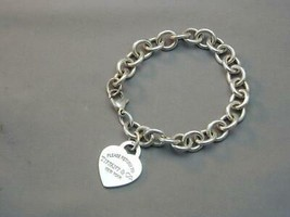 "Please Return To Tiffany Sterling Heart Tag Link Bracelet 7 1/8"" - $165.00"