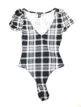 Rue21 Fav Plaid Checked Black and White Bodysuit Size S Short Sleeve - $9.95