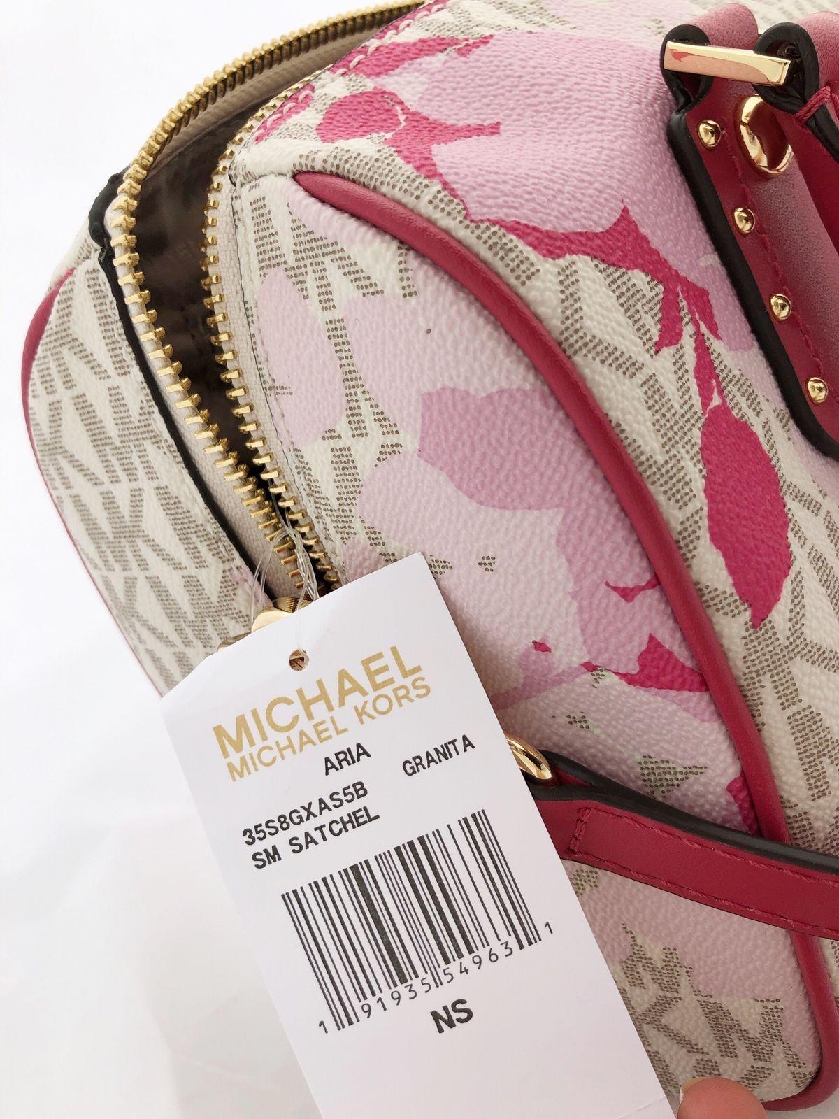 3db61d514fe1 NWT Michael Kors Aria Small Top Zip Satchel Crossbody Vanilla MK Pink Floral