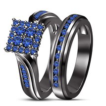 1.5 Ct Round Cut Blue Sapphire Engagement Ring 14k Black Gold Plated 925... - $81.99