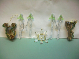 7 FANCY CHRISTMAS TREE ORNAMENTS CRYSTAL HOLLY ICICLES BEAD SNOWFLAKE GO... - $12.00