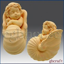 Baby in Nautilus Cradle - 3D - Soap/Candle/Plaster/Clay silicone mold - $60.86