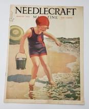 NEEDLECRAFT MAGAZINE AUGUST 1928 GIRL BEACH SAND BUCKET COVER & Campbell... - $12.95