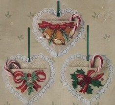 Something Special Christmas Antique Heart Pocket Ornaments Cross Stitch Kit New - $14.46