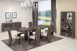 Global Furniture D59 Contemporary Gray High Gloss Finish Dining Set  7 Pcs