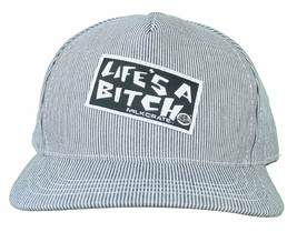 Milkcrate Athletics Life's A Bitch Black White Striped Snapback Baseball Hat NWT