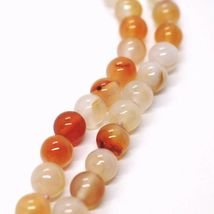 Long Necklace 100 cm, 1 Meter Agate Red and Brown, Spheres Ovals, Double Thread image 3