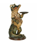 """39"""" Crocodile Butler Statue With Tray Restaurant Kitchen Decor Collectible - $348.23"""
