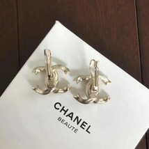 SALE* AUTHENTIC Chanel Gold CC Ribbon Crystal Large Piercing Earrings image 8