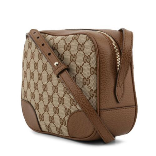 NEW Gucci Beige Brown GG Guccissima Leather Bree Crossbody Camera Shoulder Bag