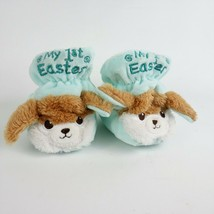 Happy Go Fluffy My First Easter Infant Baby Fleece Bunny Slippers Blue G... - $13.98