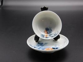 "Antique Japanese Porcelain Akita Konasha Style 2"" Teabowl and 3"" Saucer Set - $150.00"