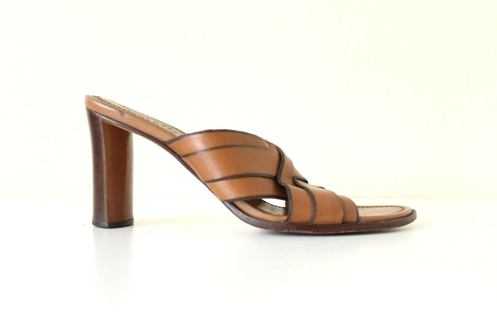 Women's Vintage COLE HAAN High Heel Slip On Brown 100% Leather Sandals Mules UK4