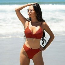 Solid Triangle Low-waist Bikini Set Swimsuit Swimwear Beachwear Bathing ... - $36.54