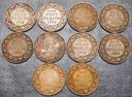 Collection of 10x Canada Large Cent Coins - Dates: 1916 to 1920 - $12.44