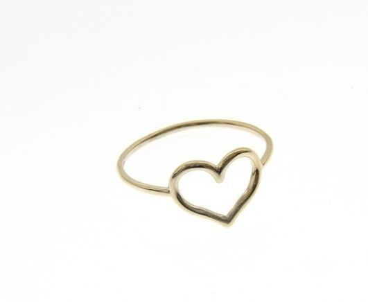 18K YELLOW GOLD HEART LOVE RING SMOOTH, BRIGHT, LUMINOUS, BAND, MADE IN ITALY