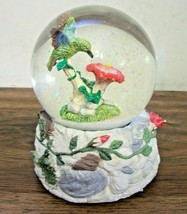 Music Box Co.Musical Snow Globe Hibiscus Humming Bird Vintage - $27.49