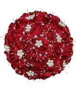 Artificial Flower Ribbon Rose Bouquet Luxury Rhinestone Pearl Decoration... - £24.44 GBP