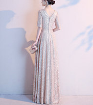 Women Maxi Sequin Dress Sleeved High Waist Sequin Maxi Formal Dress, Pink Sequin image 6