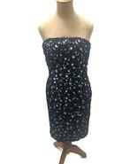 Victor Costa I. Magnin Women's Cocktail Dress Blue White Sequins Straple... - $79.48