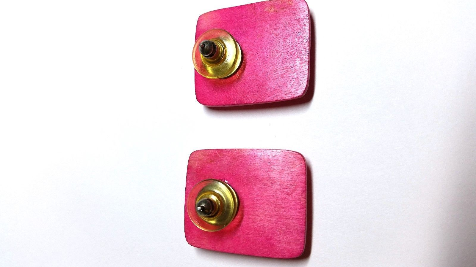 Bright Pink Abstract Design Pierced Vintage Earrings