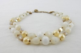 Vintage Signed Lisner Faux Pearl and Teardrop Bead Choker Necklace - $14.65