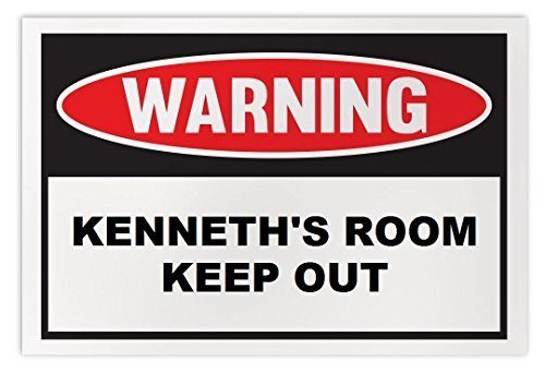Personalized Novelty Warning Sign: Kenneth's Room Keep Out - Boys, Girls, Kids,