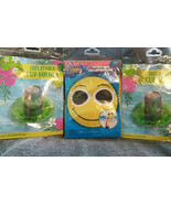 Set 2 inflatable Cup holders with1 Emoji Style Beach Ball Pool Party Lua... - $12.25