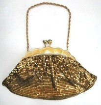 vintage FANCY GOLD MESH PURSE HANDBAG WITH RHINESTONES satin lining CLASP  - $42.50