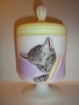"Fenton Glass ""Cat Nap"" Chessie Cat Box Gray Tabby Mouse GSE LTD ED 8/12 ... - $280.82"