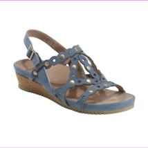 Earth Shoes Ficus Leo Wedge Sandals Sky Blue Size 7 M - $100.10