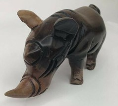 Vintage African Two Tone Wood Rhinoceros Hand Carved Statue Figure 10.5 ... - $98.99
