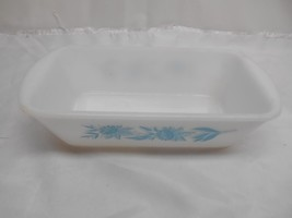 Old Vtg GLASBAKE J-522 LOAF PAN DISH Glassware Blue Pattern Kitchenware - $19.79