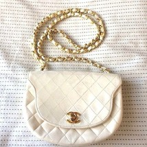 Vintage CHANEL Authentic Matelasse White Flap Quilted Chain Shoulder Bag... - $1,120.68