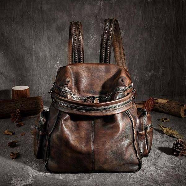 Sale, Vintage Leather Women Backpack, Leather School Backpack, Leather Designer  image 2