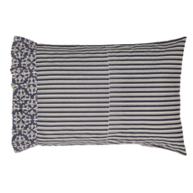 Elysee Pillow Cases - Set of 2 - Black and Creme Pinstripes - VHC Brands