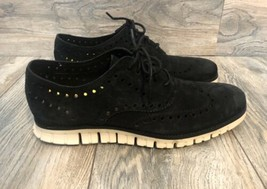 Cole Haan Zerogrand Suede Wing Tip Oxford Black Size 10 C12981 - $128.70