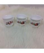 Three 3 Arcopal France Coffee Tea Cups Mug Milk Glass Florentine Provini... - $15.88