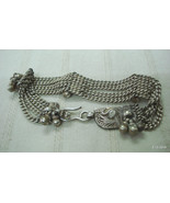 vintage antique ethnic tribal old silver chain bracelet bangle cuff jewelry - $130.68