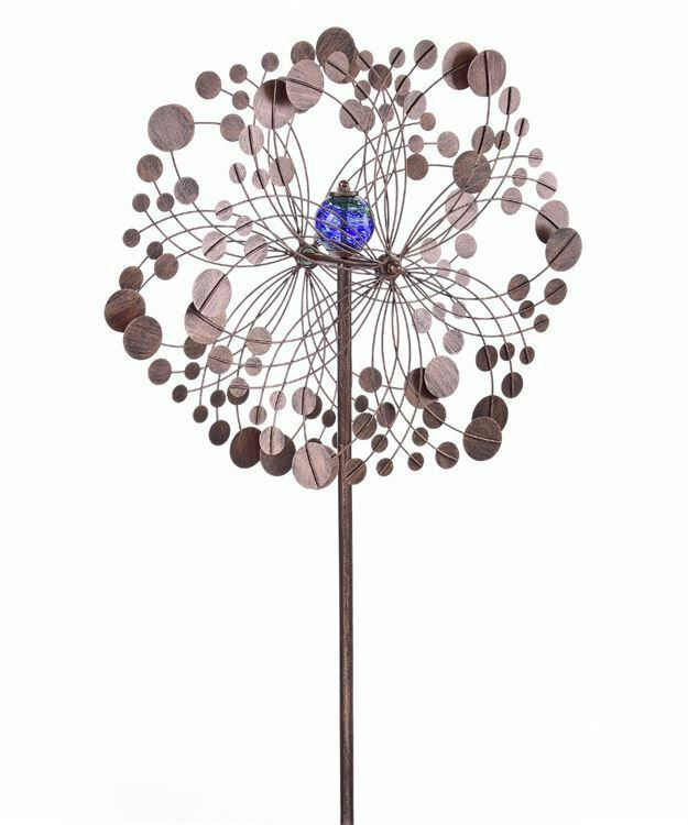 "75"" Iron Flower Design Wind Spinner Triple Pronged Metal Garden Stake"