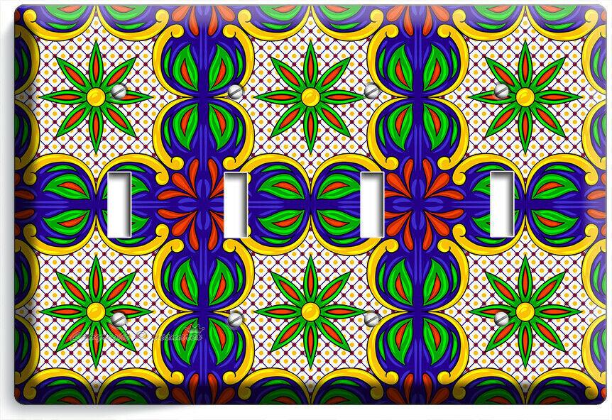 MEXICAN FOLK ART TALAVERA TILE LOOK 4 GANG LIGHT SWITCH PLATE KITCHEN ROOM DECOR