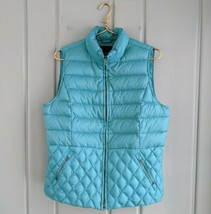Talbots Womens Large 12 14 Down Quilted Puffer Vest Quilted Teal Zip Poc... - $38.69