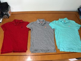 Lot of 3 Men's American Eagle Outfitters Red Grey Blue Polo Shirts Size XS - $569,60 MXN