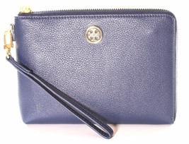 Tory Burch Landon Large Leather Zip Around Wristlet Hudson Bay Blue - $164.83