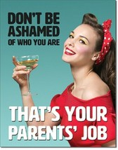 Ephemera Don't Be Ashamed Parent's Job Humor Retro Funny Wall Decor Metal Sign - $15.95
