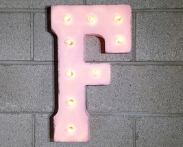 Letter F - SOLAR POWERED Rustic Vintage Metal Alphabet Marquee Light Up ... - $113.85+