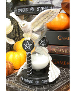 """7""""H Awaken Your Magic Snowy Owl Grasping Pentagram Pendant Sand Timer Fi... - $41.99"""